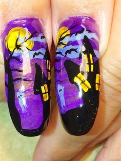 Haunted House Halloween by vchristie - Nail Art Gallery nailartgallery.nailsmag.com by Nails Magazine www.nailsmag.com #nailart