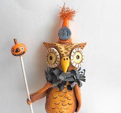 Brown Halloween Owl with Pumpkin Stack Original Folk Art Sculpture1000 x 942 | 156.6KB | www.etsy.com