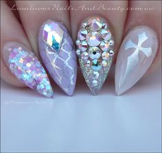 Pastel Goth Nails... Lilac, Sheer White & Silver