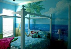 Beach Cottage Decor - Beachy bedroom - Beach Bedroom White is a staple for… Sea Bedrooms, Ocean Bedroom, Beach Bedroom Decor, Beach Theme Bathroom, Beach Room, Teen Girl Bedrooms, Blue Bedroom, Teen Rooms, Master Bedroom