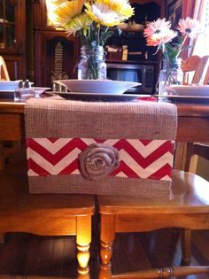 Burlap & Chevron Table Runner  12 x 60 by CreativePlaces on Etsy, $14.00