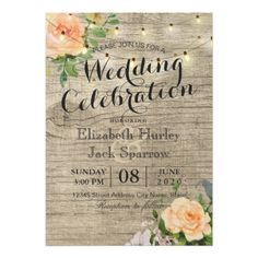 Rustic Wedding Invitation Floral Wood String Light - modern gifts cyo gift ideas personalize