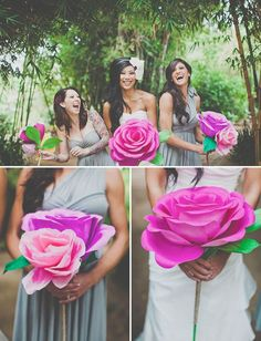 cool wedding ideas, big paper flower diy. For the bridesmaids who will be the flowers from Alice in Wonderland!