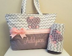 Chevron Elephant Diaper Bag ~ Gray ~ Grey ~ Pink ~ Baby Girl ~ Monogram ~ Personalized - Baby Boy Names Baby Girl Names Elephant Diaper Bag, Baby Girl Diaper Bags, Baby Girl Elephant, Baby Bags, Elephant Theme, My Baby Girl, Baby Girl Newborn, Baby Love, The Babys