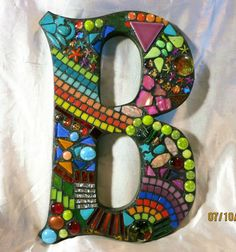 "LARGER Custom Mosaic Initials/Letters - Your Color Choice  (These are 12"" tall in the 'Wild & Funky' style and colors)"