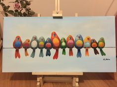 Oil painting of colorful chubby Birds! (40*80 cm) 250$ (overseas shipment is available)