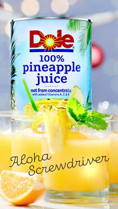 Say aloha to your new favorite cocktail! It's a classic screwdriver with a fun twist thanks to DOLE® Pineapple Juice. Serve it over ice with an orange slice and a sprig of fresh mint for garnish, and it just might become your guests' favorite too. Pitcher Drinks, Juice Drinks, Smoothie Drinks, Vodka Cocktails, Vanilla Vodka Drinks, Bacardi Drinks, Smoothies, Cocktail Drinks, Dole Pineapple Juice