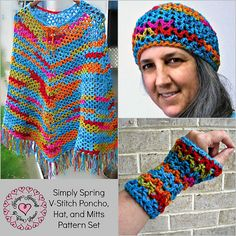 Simply Spring V-Stitch Poncho, Hat, and Mitts Set pattern by Heritage Heartcraft Light, Lacy, and Super Easy! Make it in wild colors for a bit of jazz, or in neutral colors for a classic accessory set.