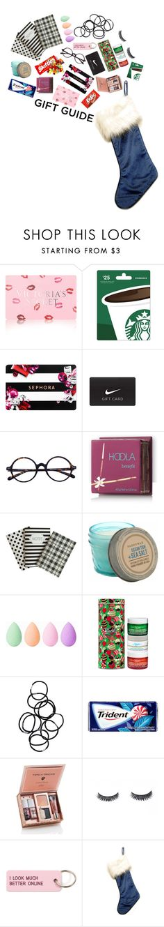 """""""Gift Guide."""" by rojasandprada ❤ liked on Polyvore featuring Victoria's Secret, Sephora Collection, NIKE, Hoola, Paddywax, beautyblender, Kiehl's, Monki and Various Projects"""