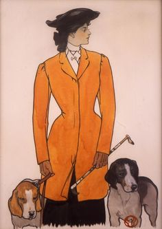 Edward Penfield (1866-1925). Woman with Hounds, 1906. Watercolor on board - The Saturday Evening Post, October 27, 1906, cover.