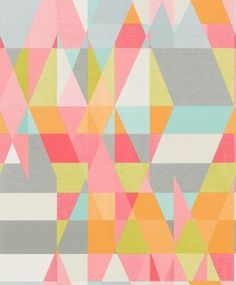 Axis (110836) - Scion Wallpapers - An all over geometric design in various colours. Shown here in various colours including grey, white, orange, blue, pink and white. Other colourways are available. Please request a sample for a true colour match. Paste-the-wall product. Wide width product.