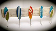 Surfboard Hat Rack - BeachDazzled Style Organizer. Key Rack, Hat Rack, Purse Rack, Jacket Rack- Unique vintage SurfBoards on Reclaimed Wood by BeachDazzled on Etsy