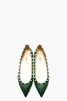 Green Leather Studded Ballerina Flats