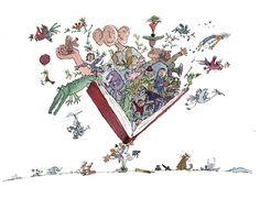 """""""todo lo que se esconden entre las páginas de un libro..."""" ilustración del genial Quentin Blake"""