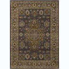 @Overstock - A thick, soft pile highlights this area rug. Hand-tufted in India using premium quality wool, this area rug features a beautiful oriental design in shades of green, grey, brown, burgundy and yellow against charcoal grey background.http://www.overstock.com/Home-Garden/Hand-tufted-Bajrang-Oriental-Grey-Wool-Rug-7-x-10/6831111/product.html?CID=214117 $359.99