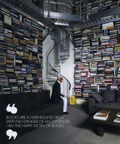 Karl Lagerfeld  with his books