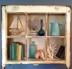 Creative DIY Old Window Transformations! Featured here: http://www.completely-coastal.com/2012/10/decor-ideas-for-old-window-frames.html