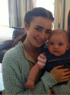 Lily Collins Bts of Love,Rosie.  Lily with her onscreen baby daughter