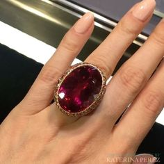 Big, bold, beautiful - this is how I would describe this #cocktailring by #LorenzBaumer @lorenzbaumer with a stunning oval #rubellite. See it at PAD exhibition in London - Berkley Square. #lorenzbaumeronkaterinaperezcom #raregemstone #ring #finejewellery #finejewelry #jewellery #rubellitering #hautejoaillerie #highjewelry #highjewellery