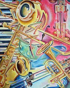 Instrumental by Rick Borstelman ~ abstract musical painting