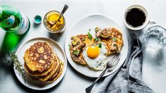 Cornmeal Pancakes with Mushroom Confit and Eggs