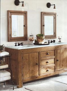 The rustic bathroom vanity ideas become a style choice that presents a natural impression in the bathroom. Most of us look at the bathroom vanity every morning after rising and every night before g… Bathroom Vanity Designs, Rustic Bathroom Vanities, Bathroom Vanity Cabinets, Rustic Bathrooms, Vanity Sink, Bathroom Fixtures, Bathroom Ideas, Bathroom Shelves, Bathroom Mirrors