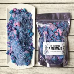 Whoa! This foaming bath soak is like everything that makes a bath amazing all in one package. Its a magical blend of swirly, beautiful bath bombs, luxurious bubbling bubble bars, silky moisturizing oils and soothing salts. Its just the best and its scented with our top selling mermaid fragrance blend, a blend of agave, sea kelp, citrus zest, bergamot, cyclamen and sandalwood. To use, just sprinkle the desired amount into your bath water and watch it swirl and foam while it changes the color…