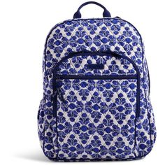 Vera Bradley Campus Backpack in Cobalt Tile ($109) ❤ liked on Polyvore featuring bags, backpacks, cobalt tile, vera bradley bags, vera bradley backpack, cross-body bags, pocket bag and zip bags