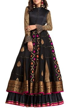 Black banarasi anarkali available only on Carma Online Shop. Indian Wedding Gowns, Indian Gowns, Indian Attire, Indian Ethnic Wear, Indian Outfits, Indian Clothes, Western Outfits, Sari Dress, Anarkali Dress