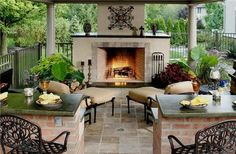 love me some outdoor stucco fireplaces :)
