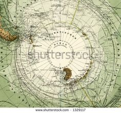 1872 Antique Stieler Map of Antarctica South Pole Detail