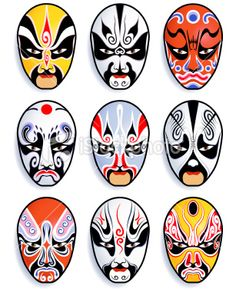 A series of 9 vector traditional chinese opera mask. Chinese Opera Mask, Chinese Mask, Japanese Mask, Art Japonais, Illustration Art, Illustrations, Masks Art, African Masks, Free Vector Art