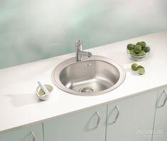 AS-Fremont 30 round sinks stainless Corner Sink Kitchen, Best Kitchen Sinks, Cool Kitchens, Stainless Steel Double Sink, Stainless Kitchen, Franke Sink, Inset Sink, Round Sink, Composite Sinks