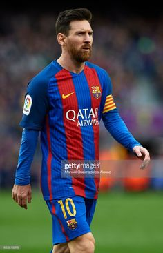 Lionel Messi of Barcelona looks on during the La Liga match between FC Barcelona and Athletic Club at Camp Nou Stadium on February 4, 2017 in Barcelona, Spain.