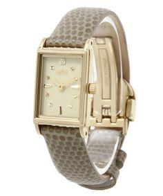 お気に入り。 ete(エテ)のウォッチコレクション スクエアフェイス グレージュレザーワイドベルト(腕時計) イエローゴールド