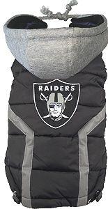 NFL Oakland Raiders Licensed Dog Puffer Vest Coat - S - 3X