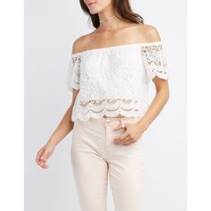 Charlotte Russe Scalloped-Trim Off-The-Shoulder Crop Top ($22) ❤ liked on Polyvore featuring tops, white, white tops, crochet lace crop top, floral tops, off the shoulder crop top and white crop top