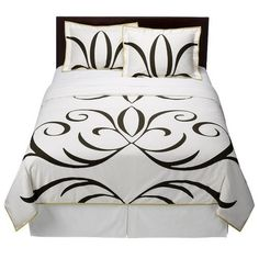 NEW Dwell Studio Full Queen Comforter and Shams Set Baroque Black White Grn Trim $74.99