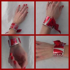 DIY Soda Can Bracelet Arizona Mama. An actual tutorial! Soda Can Crafts, Soda Can Art, Recycled Jewelry, Recycled Crafts, Diy Crafts, Aluminum Can Crafts, Aluminum Cans, Soda Can Bracelet, Diy Bracelet