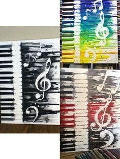 28 Fantastic Melted Crayon Art Ideas – Listing More Abstract Music Crayon Art. Diy Wall Art, Diy Art, Musik Illustration, Music Artwork, Melting Crayons, Art Sketchbook, Amazing Art, Awesome, Painting & Drawing