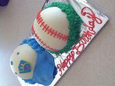 Milwaukee brewers hat and baseball cake