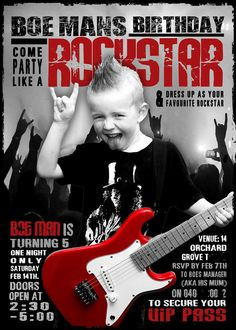 My little boy IDOLISES Slash and Guns n Roses, for his 5th birthday we threw him a Rockstar birthday party. This is his invitation. Rock n Roll.