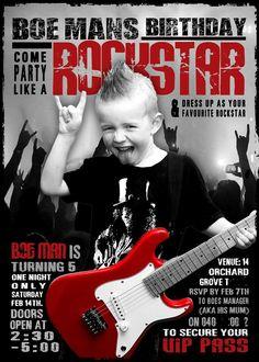 My little boy IDOLISES Slash and Guns n Roses, for his 5th birthday we threw him a Rockstar birthday party. This is his invitation. Rock n Roll.