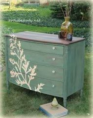 StenciledDresser-I like the combination of a blue wash with a dark stained top and the bold stencil