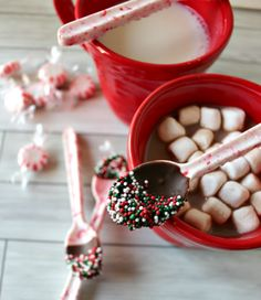 Add some peppermint flavor to your hot chocolate by stirring it with this handmade edible spoon.  Get the recipe at Princess Pinky Girl.    - CountryLiving.com