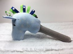 Stick Horse Baby Rattle Sensory Plush Toy in blue plaid by RBQuery