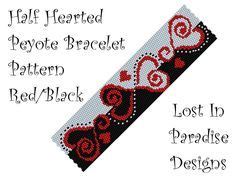 Peyote Bracelet Pattern -  Half Hearted Peyote Pattern (Buy any 2 peyote patterns and get a 3rd one Free). $6.50, via Etsy.