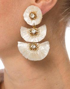 Bridal Earrings, Beaded Earrings, Statement Earrings, Hoop Earrings, Jewelry Hooks, Wedding Fans, Fancy Jewellery, Earring Tutorial, Textile Jewelry