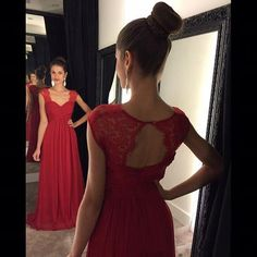 >> Click to Buy << Red A Line Chiffon Prom Dresses 2017 New Cap Sleeve Open Back Floor Length Formal Evening Gowns Custom #Affiliate