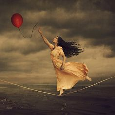 the dream that dares us (brookeshaden) Tags: selfportrait storm reaching circus surrealism surreal fantasy ethereal tightrope conceptual redballoon whimsical storytelling fineartphotography darkart brookeshaden girlontightrope Surrealism Photography, Conceptual Photography, Dark Photography, Portrait Photography, Boudoir Photography, Creative Photography, Surreal Photos, Surreal Art, Arte Pop